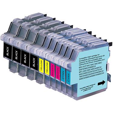 Megapack cartouches compatible Brother LC-980 et LC-1100 (Cyan, magenta, jaune et noir) Pack de 10 cartouches d'encre compatible Brother LC-980 et LC-1100 (2 x cyan, 2 x magenta, 2 x jaune et 4 x noir)