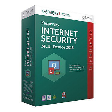 Kaspersky Internet Security 2016 - Licence 5 postes 1 an