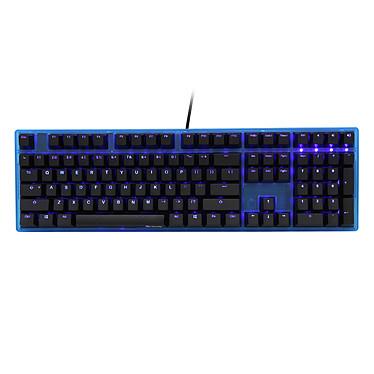 Ducky Channel One (coloris bleu transparent - switches MX Blue - LEDs bleues - touches ABS) Clavier mécanique haut de gamme à switches Cherry MX bleus et rétro-éclairage bleu personnalisable pour gamer (AZERTY, Français)