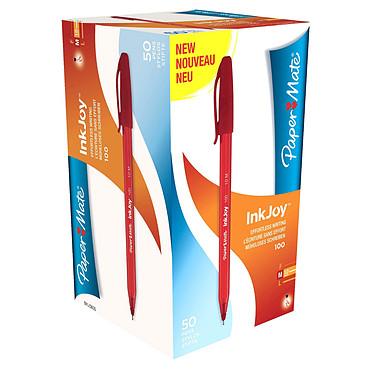 Paper Mate Inkjoy 100 Cap Rouge x 50 Pack de 50 stylos à bille à capuchon rouges avec une pointe moyenne de 1.0 mm