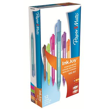 Paper Mate Inkjoy 100 RT Assortis x 12 Pack de 12 stylos à bille rétractables avec une pointe moyenne de 1.0 mm (Bleu, Rose, Violet, Orange, Vert et Marron)
