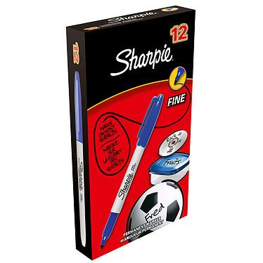 Sharpie Fine Bleu x 12 Pack de 12 marqueurs permanents bleus avec pointe ogive