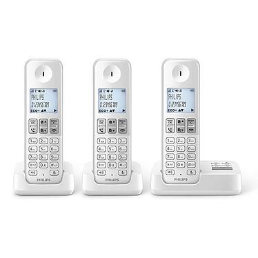 Philips D2353W/FR Trio Blanc Téléphone DECT sans fil avec répondeur et 2 combinés supplémentaires (version française)
