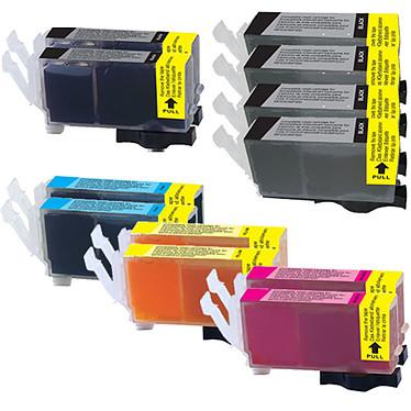 Megapack cartouches compatibles Canon PGI-520/CLI-521 (Cyan, magenta, jaune et noir) Pack de 12 cartouches d'encre compatible Canon PGI-520 / CLI-521