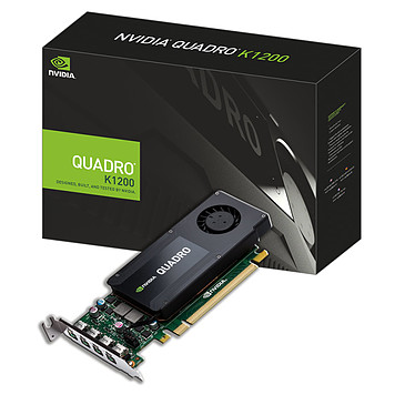 PNY Quadro K1200 4 Go Quad Mini DisplayPort - PCI Express (NVIDIA Quadro K1200) + 4 adaptateurs vers DisplayPort