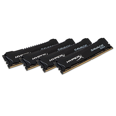 HyperX Savage Noir 16 Go (4x 4Go) DDR4 2400 MHz CL12 Kit Quad Channel 4 barrettes de RAM DDR4 PC4-19200 - HX424C12SBK4/16 (garantie 10 ans par Kingston)