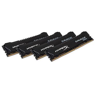 HyperX Savage Noir 16 Go (4x 4Go) DDR4 2666 MHz CL13 Kit Quad Channel 4 barrettes de RAM DDR4 PC4-21300 - HX426C13SBK4/16 (garantie 10 ans par Kingston)