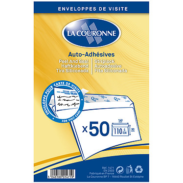 La Couronne Paquet de 50 enveloppes 90 x 140 mm Paquet de 50 enveloppes velin format 90 x 140 mm auto-adhésives 110 g
