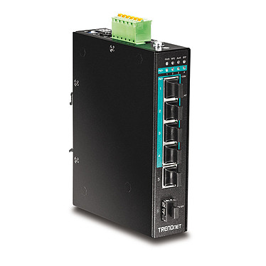 TRENDnet TI-PG541 Switch industriel 4 ports PoE+ Gigabit, 1 port Gigabit et 1 logement SFP Gigabit (Boitier métal)