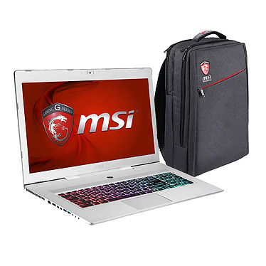 "MSI GS70 2QE-676FR Stealth Pro Argent + Sac à dos MSI Adeona OFFERT ! Intel Core i7-5700HQ 8 Go SSD 128 Go + HDD 1 To 17.3"" LED Full HD NVIDIA GeForce GTX 970M Wi-Fi AC/Bluetooth Webcam Windows 10 Famille 64 bits (garantie constructeur 1 an)"