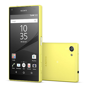 """Sony Xperia Z5 Compact Jaune Smartphone 4G-LTE Advanced IP68 - Snapdragon 810 8-Core 2 GHz - RAM 2 Go - Ecran tactile 4.6"""" 720 x 1280 - 32 Go - NFC/Bluetooth 4.1 - 2700 mAh - Android 5.1"""