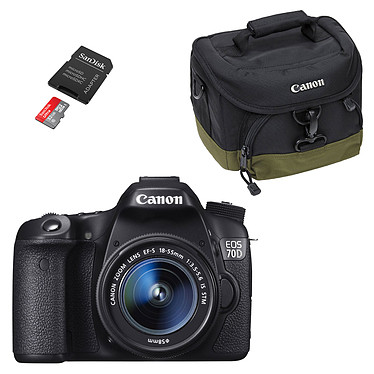 """Canon EOS 70D + Objectif 18-55mm IS STM + 100EG + SanDisk Ultra microSDHC 32 Go Réflex Numérique 20.2 MP - Ecran 3"""" - Vidéo Full HD + Objectif 18-55mm IS STM +  Fourre tout + Carte MicroSDHC UHS-I classe 10 avec adaptateur SD"""