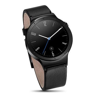 Huawei Watch Active Noir/Cuir Montre connectée certifiée IP67 avec Wi-Fi et Bluetooth sous Android Wear compatible iOS / Cadran acier et bracelet cuir