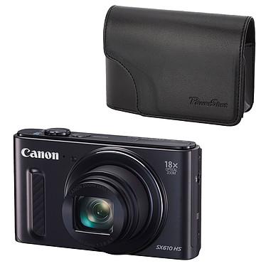 Canon PowerShot SX610 HS Noir + Canon DCC-1570 Appareil photo 20 MP - Zoom ultra grand-angle 18x - Vidéo Full HD - HDMI - Wi-Fi et NFC + Étui