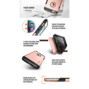 Spigen Case Tough Armor Rose Gold Apple iPhone 6/6s pas cher
