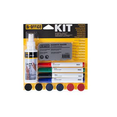 Bi-Office Kit magnétique pour tableaux blancs Lot de 4 marqueurs aux couleurs assorties, 6 aimants, 1 effaceur magnétique et 1 spray de nettoyage de 125ml