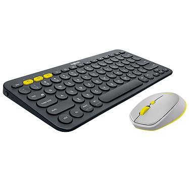 Logitech Pack mobilité Bluetooth Souris M535 + Clavier K380 (Gris/jaune) Souris sans fil - droitier - capteur optique 1000 dpi - 4 boutons - compatible toutes surfaces + clavier Multi-Device (Bluetooth)