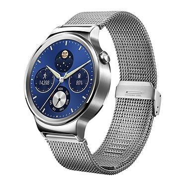 Huawei Watch Classic Milanais Argent/Acier Montre connectée certifiée IP67 avec Wi-Fi et Bluetooth sous Android Wear compatible iOS / Cadran acier et bracelet milanais