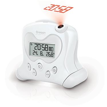 Oregon Scientific RM313P Blanco Reloj despertador con proyección de la hora, temperaturas interiores y calendario