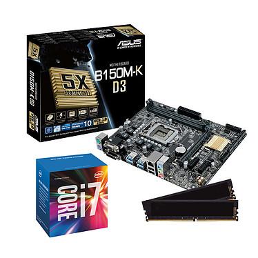 Kit Upgrade PC Core i7 ASUS B150M-K 8 Go Carte mère Micro ATX Socket 1151 Intel B150 Express + CPU Intel Core i7-6700 (3.4 GHz) + RAM 8 Go DDR3 1600 MHz