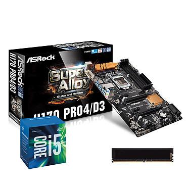Kit Upgrade PC Core i5 ASRock H170 PRO4/D3 4 Go Carte mère ATX Socket 1151 Intel H170 Express + CPU Intel Core i5-6500 (3.2 GHz) + RAM 4 Go DDR3 1600 MHz