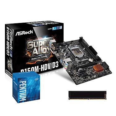 Kit Upgrade PC Pentium G4400 ASRock B150M-HDV/D3 4 Go Carte mère Micro ATX Socket 1151 Intel B150 Express + CPU Intel Pentium G4400 (3.3 GHz) + RAM 4 Go DDR3 1600 MHz
