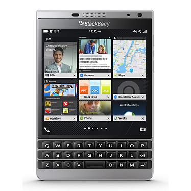"BlackBerry Passport Silver Edition AZERTY Smartphone 4G-LTE AZERTY - Snapdragon 801 Quad-Core 2.2 GHz - RAM 3 Go - Ecran tactile 4.5"" 1440 x 1440 - 32 Go - NFC/Bluetooth 4.0 - 3450 mAh - BlackBerry OS 10.3"