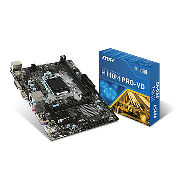 MSI H110M PRO-VD Carte mère Micro ATX Socket 1151 Intel H110 Express - SATA 6Gb/s - DDR4 - USB 3.1 - 1x PCI-Express 3.0 16x