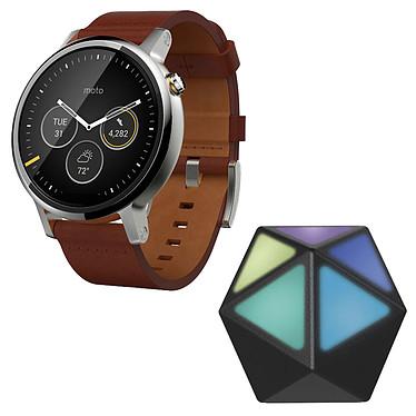 Motorola Moto 360 2ème Génération Cognac + Moto Stream Montre connectée Bluetooth pour homme sous Android Wear certifiée IP67 avec écran LCD tactile 46 mm et bracelet en cuir + Adaptateur Bluetooth