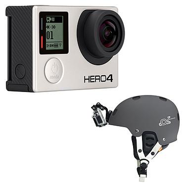 GoPro HERO 4 : Black Edition + Fixation Frontale pour Casque Caméra sportive 4K Ultra HD à mémoire flash avec Wi-Fi et Bluetooth + Fixation pour caméra GoPro Hero