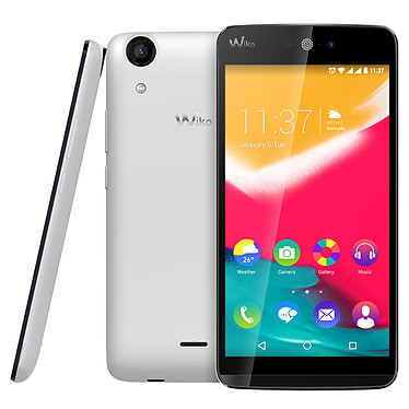 "Wiko Rainbow Jam 4G Blanc Smartphone 4G-LTE Dual SIM - Snapdragon 210 Quad-Core 1.1 GHz - RAM 1 Go - Ecran tactile 5"" 720 x 1280 - 8 Go - Bluetooth 4.0 - 2500 mAh - Android 5.1"