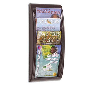 Paperflow Quick Fit présentoir mural 4 cases Noir Présentoir mural noir et transparent avec 4 cases au format A4