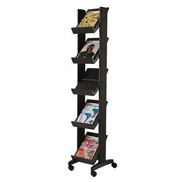Paperflow EasyDisplays présentoir mobile compact 5 étagères Noir