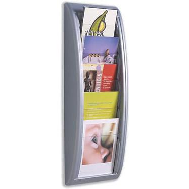 Paperflow Quick Fit 5-box Pantalla de pared de aluminio Expositor mural de aluminio y transparente con 5 compartimentos en formato A5