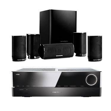 Harman Kardon AVR 161S + HKTS 9 Noir Ampli-tuner Home Cinema 3D Ready 5.1 DLNA avec HDMI 2.0 4K, Bluetooth, Spotify Connect + Pack d'enceintes 5.1 compactes avec caisson de basses actif