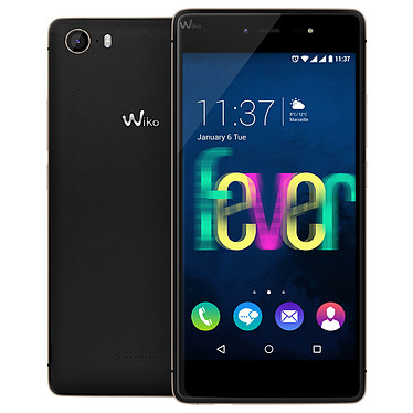 "Wiko Fever 4G Noir/Or Smartphone 4G-LTE Dual SIM - ARM Cortex A-53 8-Core 1.3 GHz - RAM 3 Go - Ecran tactile 5.2"" 1080 x 1920 - 16 Go - Bluetooth 4.0 - 2900 mAh - Android 5.1"