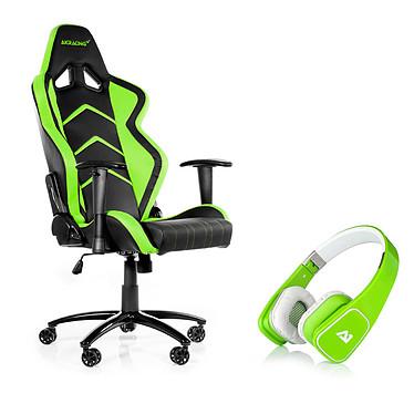 AKRacing Player Gaming Chair (vert) + Attitude One Almaz Vert OFFERT ! Siège en simili cuir avec dossier réglable à 180° pour gamer + casque supra-aural fermé vert