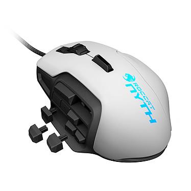 ROCCAT Nyth (blanche) Souris filaire pour gamer - droitier - capteur laser 12000 dpi - 18 boutons programmables - rétroéclairage RGB - 100% modulaire