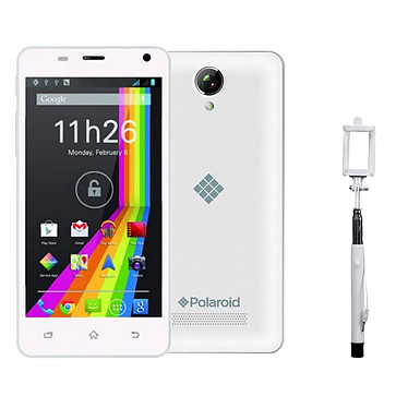 """Polaroid Sky 5 Blanc Smartphone 3G+ Dual SIM avec écran tactile 5"""" sous Android 5.1 + Perche à selfie"""