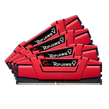 G.Skill RipJaws 5 Series Rouge 64 Go (4 x 16 Go) DDR4 2666 MHz CL15 Kit Quad Channel 4 barrettes de RAM DDR4 PC4-21300 - F4-2666C15Q-64GVR (garantie 10 ans par G.Skill)