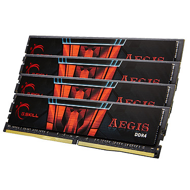 G.Skill Aegis 64 Go (4 x 16 Go) DDR4 2400 MHz CL15 Kit Quad Channel 4 barrettes de RAM DDR4 PC4-19200 - F4-2400C15Q-64GIS