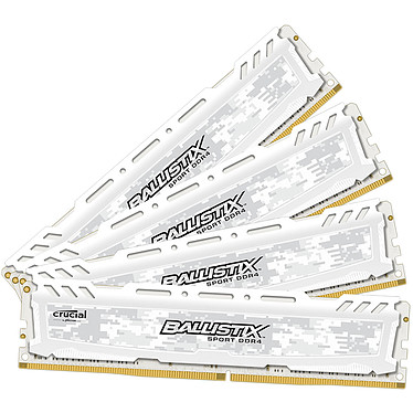 Ballistix Sport LT White 16 Go (4 x 4 Go) DDR4 2400 MHz CL16