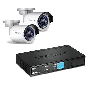 TRENDnet TV-IP320PI2K + TRENDnet TPE-S44 Pack de 2 caméras IP d'extérieur HD PoE Jour/Nuit + Switch 8 ports ethernet dont 4 ports PoE