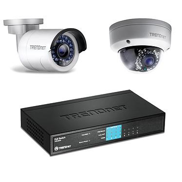 TRENDnet TV-IP320PI + TV-IP321PI + TPE-S44 Pack de 2 caméras IP d'extérieures HD PoE Jour/Nuit + Switch 8 ports ethernet dont 4 ports PoE