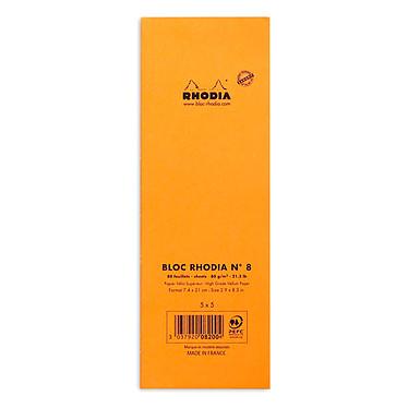 Avis Rhodia Bloc N°8 Orange agrafé en-tête 7.4 x 21 cm petits carreaux 5 x 5 mm 80 pages