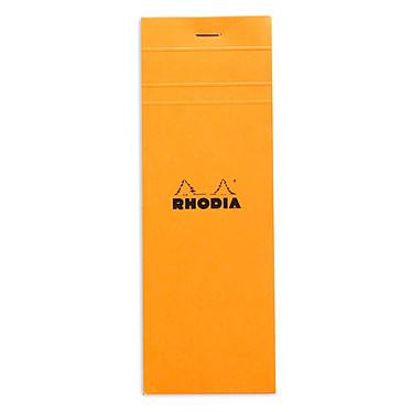 Rhodia Bloc N°8 Orange agrafé en-tête 7.4 x 21 cm petits carreaux 5 x 5 mm 80 pages Bloc note de 80 pages détachables 80g 74 x 21 mm avec couverture en carte