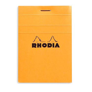 Rhodia Bloc N°11 Orange agrafé en-tête 7.4 x 10.5 cm petits carreaux 5 x 5 mm 80 pages Bloc note de 80 pages détachables 80g A7 avec couverture en carte
