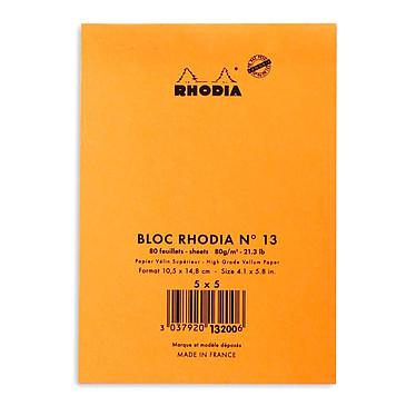 Avis Rhodia Bloc N°13 Orange agrafé en-tête 10.5 x 14.8 cm petits carreaux 5 x 5 mm 80 pages