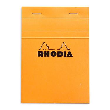Rhodia Bloc N°13 Orange agrafé en-tête 10.5 x 14.8 cm petits carreaux 5 x 5 mm 80 pages