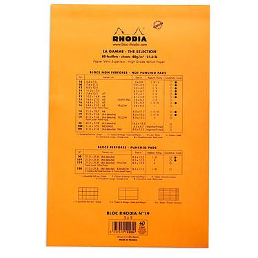 Avis Rhodia Bloc N°19 Orange agrafé en-tête 21 x 31.8 cm petits carreaux 5 x 5 mm 80 pages